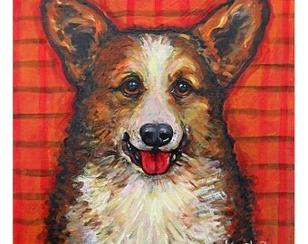 Welsh Corgie Dog Art 8x8 and 10x10 Glicee Print from original pet portrait painting - Poppy and Plaid  - Korpita ebsq