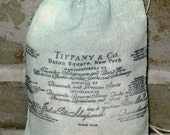 Tiffany Blue Stained and Vintage Receipt Stamped Muslin Bags 100% Cotton Color Pouches ECS