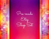 Etsy Shop Banner Set, 5pc Pre-Made, Etsy Banner Set, Geisha Pink Etsy Shop Set