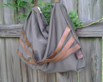 Boho Style/  Olive Green Hobo Bag w/ Brown Leather Strap and Detail