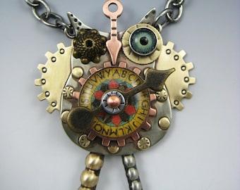 Steampunk, Steampunk Jewelry, Steampunk Owl Necklace, Steampunk Owl Jewelry, Owl Necklace, Owl Pin, Owl Jewelry,  RP0494