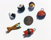 Sushi Charms (6 pieces), food charms, polymer clay charms, tiny food, polymer clay, handmade charms, kawaii, gag gifts, assorted charms,
