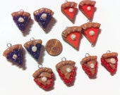 Assorted Pie Charms - 12 Pieces, Handmade charms, polymer clay charms, kawaii charms, food charms, tiny food, food miniatures, clay food,