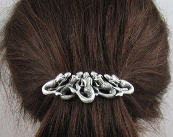Steampunk Mermaids French Barrette 80mm Sterling Silver Ox finish