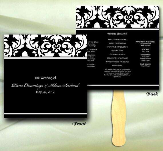 Elegant Damask Wedding Ceremony Program Fan