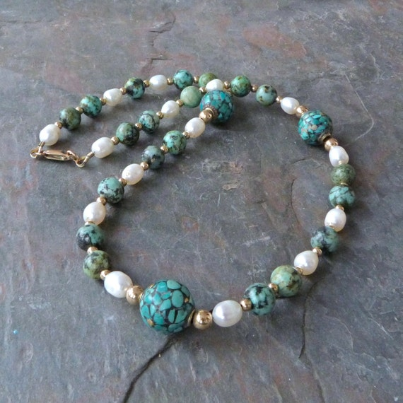 Turquoise, Jasper, & Pearl Strand Necklace with Gold and Tibetan Inlaid Beads, Handmade