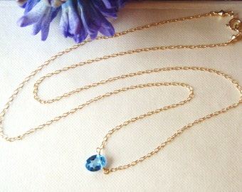 Blue topaz necklace, swiss blue topaz pendant, gold jewelry, gold necklace