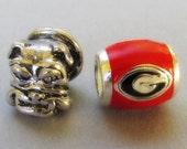Georgia Bulldogs Logo And Mascot European Bead Charms - University Of Georgia Football Team Beads For All European Charm Bracelet Chains