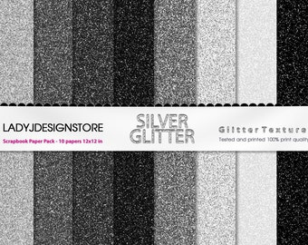 Silver Glitter Digital Papers - 8 Glitter Textures, Paper Pack, Instant Download, printable scrapbooking texture, silver, black, white, gray