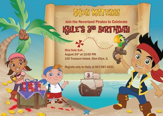 Carte D'invitation Anniversaire Jake Et Les Pirates | coleteremelly web