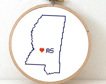 MISSISSIPPI Map Cross Stitch Pattern. Mississippi state embroidery pattern. Mississippi ornament pattern with Harford. MS decor.