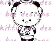 IPod Panda Digital Stamp