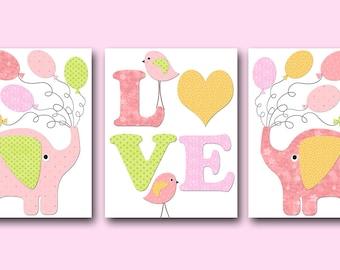 Pink Yellow Canvas Print Kids Wall Art Elephant Nursery Bird Nursery Baby Girl Nursery Art Print Children Wall Art Baby Room Decor set of 3