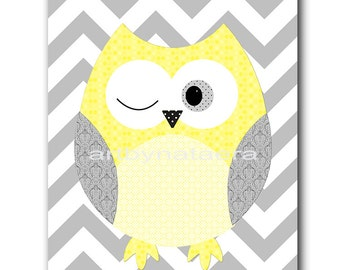 Owl Decor Kids Wall Art Baby Boy Nursery Decor Owl Nursery Baby Nursery Print Children Art Print Nursery Print Boy Art Yellow Gray grey