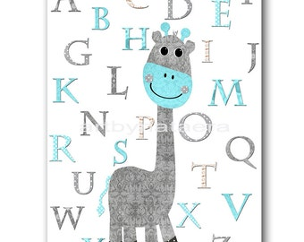 Giraffe Nursery Alphabet Nursery Alphabet Baby Boy Nursery Print Children Wall Art Kids Room Decor Nursery Wall Art Boy Print Gray Aqua