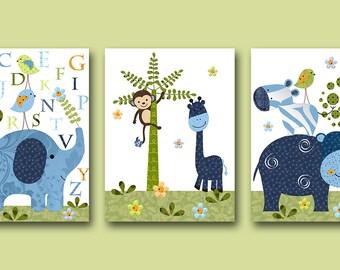 Childrens Art Kids Wall Art Alphabet Nursery Giraffe Nursery Baby Boy Room Decor Baby Boy Nursery Baby Nursery Print set of 3 Green
