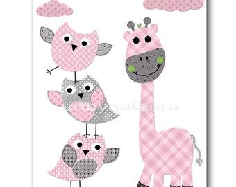 Owl Giraffe Nursery Art Print Children Art Print Kids Wall Art Kids Art Baby Girl Nursery Decor Baby Nursery Prints Girl Art Rose Gray