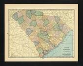 Vintage Map South Carolina From 1926 Original