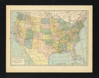 Vintage Map United States From 1926 Original