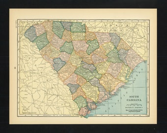 Vintage Map South Carolina From 1926 Original