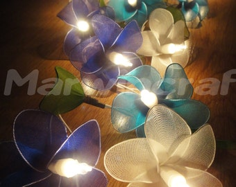 Battery or Plug 20 BlueSky Tone Frangipani Flower Fairy String Lights Floral Party Patio Wedding Garland Home Living Bedroom Floral Decor