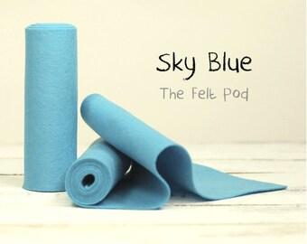 "100 Percent Wool Felt Roll - Wool Felt color SKY BLUE - 5"" X 36"" Wool Felt - 100% Wool Felt"