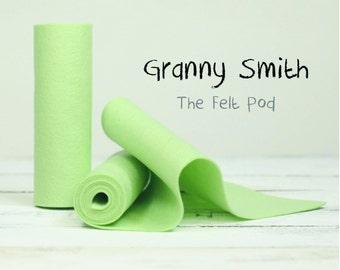 "100 Percent Wool Felt Roll - Wool Felt color GRANNY SMITH - 5"" X 36"" Wool Felt - 100% Wool Felt"
