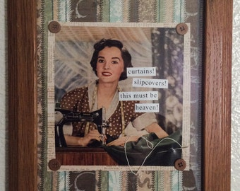June Summers  A Retro Original Framed Collage Original Design Mixed Media Assemblage Retro Woman Sewing Seamstress Framed Artwork Collages