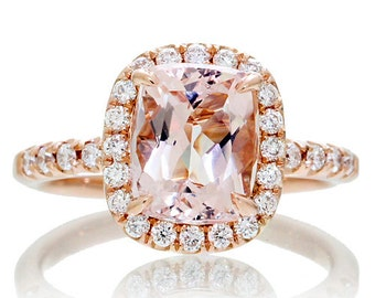 18 Karat Rose Gold 9x7mm Cushion Cut Morganite Diamond Halo Solitaire Engagement Ring Bridal Anniversary Ring