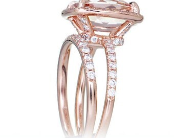 18K Rose Gold 10x8 Cushion Cut Diamond Halo Engagement Anniversary Gemstone Morganite Ring