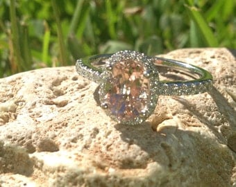 ONLY One Available 18 Karat White Gold Oval Morganite and Diamond Ring