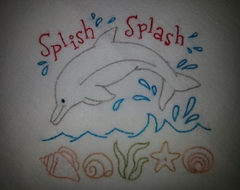 Flour sack Dishtowel - Hand Embroidered - Happy Dolphin