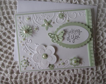 Handmade Greeting Card: Thinking Of You (Punched Flowers & Butterflies)(MADE TO ORDER)