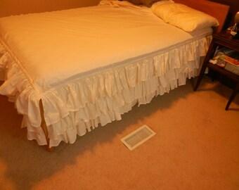 Muslin full size bedskirt.