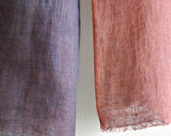 Natural (Madder / Cochineal) dyed reversible Linen scarf