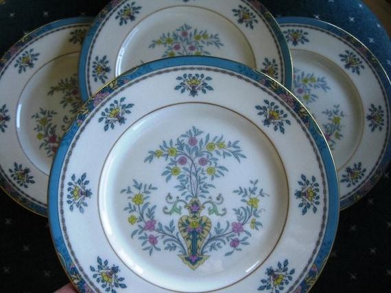 Lenox Blue Tree Antique Salad, Set of 4 Great, Lenox Black backstamp, Gold trim
