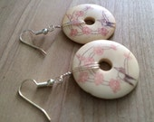 Cherry Blossom Bone coin earrings