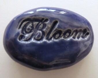 BLOOM Pocket Stone - Ceramic - ROYAL PURPLE Art Glaze - Inspirational Art Piece