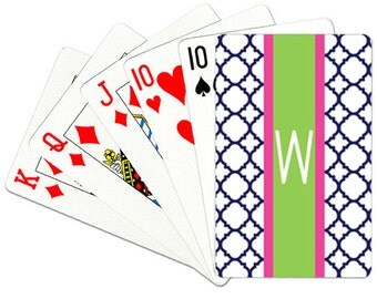 Monogrammed Playing Cards Personalized Deck of Cards Custom Card Deck