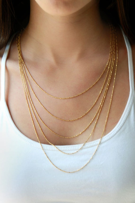 layered gold necklace unique necklace statement by