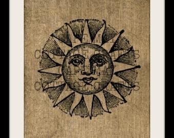 Burlap Print, Smiling Sun
