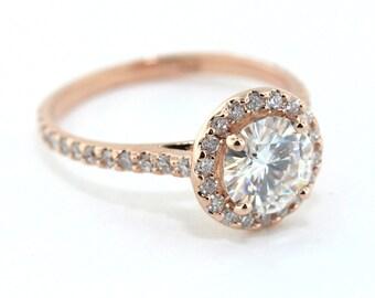 Rose Gold Diamond Engagement Ring Setting with 7mm  Moissanite Center Ring Name Ray of Light