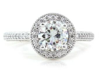 Vintage style halo engagement ring diamond setting custom made rose gold white gold yellow gold palladium or platinum