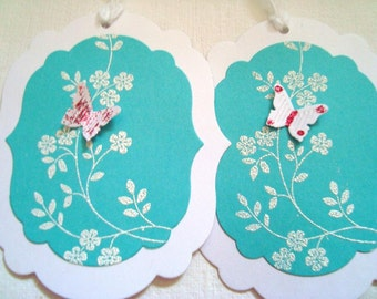 Stampin Up white and turquoise flower butterfly gift tags, Wedding wish tags, white embossed,set of 8 - Handmade by Wcards