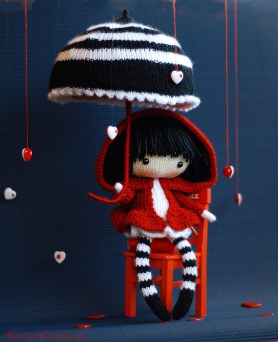 Umbrella Knitting Pattern : Eugene the doll in striped stockings with big umbrella