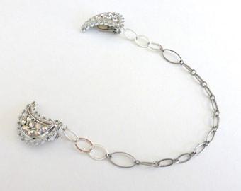 Repurposed 1950's Silver Crescent Moon Rhinestone Sweater/Collar Clip