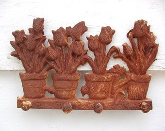 Spring Decor, Flower Garden Hooks - Worn And Rusty - Great for Keys or Garden Tools