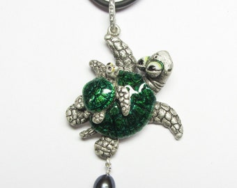 "Whimsical Silver Turtles Necklace Pendant ""Are We There Yet"" Pearl Drop"