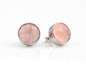 Pink Chalcedony stud earrings - bezel set earrings - Stud Post Earrings - October Birthstone studs - birthday gifts for her - tiny studs