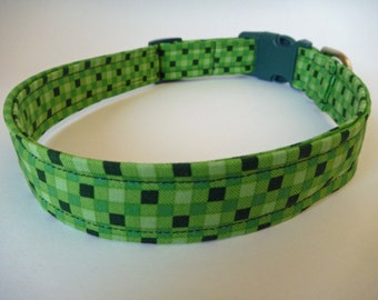 """Multi-Green Check Dog Collar -""""Jason""""- NO EXTRA Charge for colored buckles"""